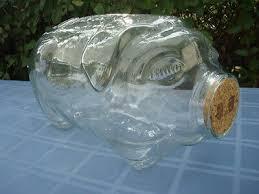 5 gallon clear libbey glass piggy bank