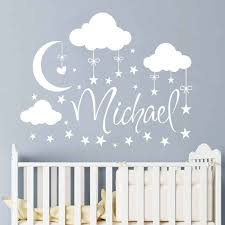 Clouds Moon Stars Vinyl Wall Sticker Personalized Baby Names Kids Room Decor Customized Name Nursery Pvc Vinyl Stickers Az024 Wall Stickers Aliexpress
