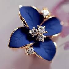 blue flower rhinestone stud earrings