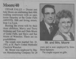 Judy and Duane Moore 40th Anniversary - Newspapers.com