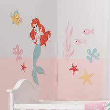 Lambs And Ivy Disney Baby Ariel S Grotto Mermaid Wall Decal In Pink Red And Green Nebraska Furniture Mart