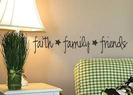 Faith Family Friends Vinyl Wall Decal Primitive Decor Wall Lettering Words With Cute Stars Country Pr Family Wall Decals Initial Wall Decor Vinyl Wall Decals
