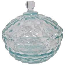light teal glass lidded candy dish by