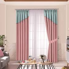 Blue And Pink Curtains For Kids Room Blackout Thermal Flannel Drapes