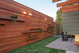 Idea For Shelving Along Side Fence Wood Fence Design Fence Decor Privacy Fence Designs