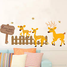Cartoon Deer Fence Sign Board Wall Decals Kids Room Nursery Wall Border Decor Wallpaper Poster Art All Wall Stickers Alphabet Wall Stickers From Magicforwall 3 97 Dhgate Com