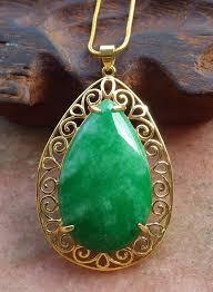 gold plate green jade pendant teardrop