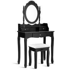 costway 3 piece black vanity makeup