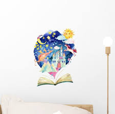 Watercolor Open Book Reading Wall Decal Wallmonkeys Com