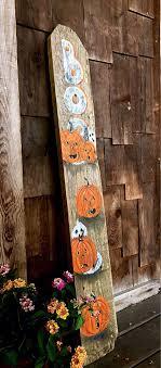 Handmade Halloween Decorationhalloween Decorhalloween Etsy Halloween Front Porch Decor Fence Post Crafts Fence Board Crafts