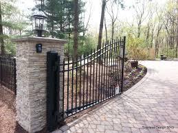 Stacked Stone Pillar Stone Pillars Fence Gate Driveway Entrance