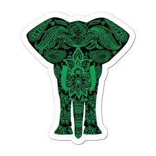 Elephant Henna Pattern Green Mandala Hippy Boho Love Animal Laptop Car Sticker Decal Hippie Stickers Sticker Collective