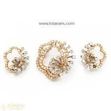 18k diamond pendant and earring sets