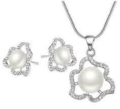 china cz flower necklace jewelry set
