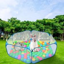 Vova Small Animals Cage Tent Pet Fence Open Outdoor Breathable Transparent For Small Animals Hamster Chinchilla Hedgehog Rabbit
