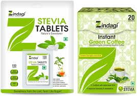 Buy Zindagi Stevia Tablets With Instant Green Coffee Powder ...