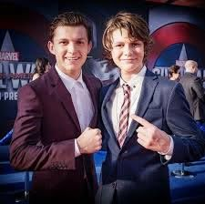 Tom Holland and Ty Simpkins at the Civil War Premiere : marvelstudios