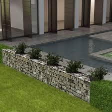 Vidaxl Gabion Basket Planter Raised Vegetable Bed Steel 300x30x50cm Fence Amazon Co Uk Kitchen Home