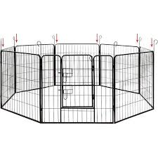 Shop Aleko Pet Playpen Dog Kennel Cage Fence 16 Panel On Sale Overstock 20193945 Each Panel Is 24 High X 32 Wide