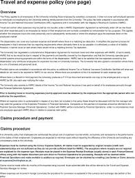 travel and expense policy one page