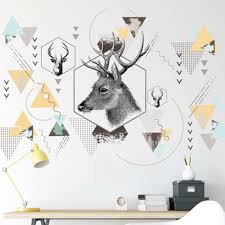 Geometry Pattern Cartoon Deer Head Wall Stickers Office Home Diy Decoration Art Decals Self Adhesive Wallpaper Poster Mural Wall Decor Vinyl Wall Decoration Decals From Magicforwall 3 37 Dhgate Com