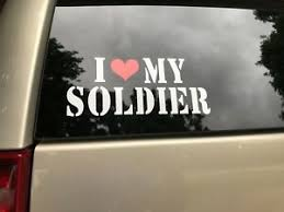 I Love My Soldier Vinyl Sticker Decal White With Red Heart Ebay