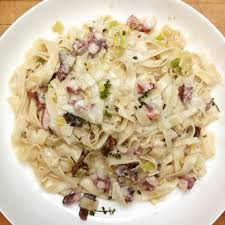 Fresh Pasta with Octopus, Bacon and ...