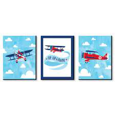 Taking Flight Airplane Vintage Plane Baby Boy Nursery Wall Art Kids Room Decor 7 5 X 10 Set Of 3 Prints Walmart Com Walmart Com