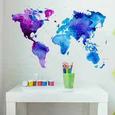 Amazon Com Style Apply Watercolor World Map Wall Decal Wall Sticker Vinyl Wall Art Home Decor Wall Mural Sd3071 0 24x17 Home Kitchen