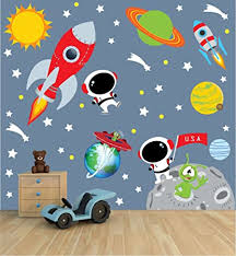 Amazon Com Space Wall Decal With Astronaut Rocket And Moon For Baby Nursery Or Boy S Room Baby
