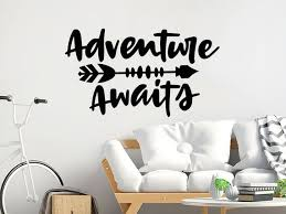 Adventure Awaits Wall Decal Arrow Vinyl Stickers Adventure Etsy