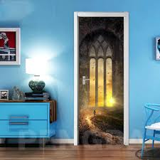 3d Creative Door Stickers Print Art Sunshine Window Picture For Living Room Home Decor Decal Poster Waterproof Wallpaper Paste Door Stickers Aliexpress