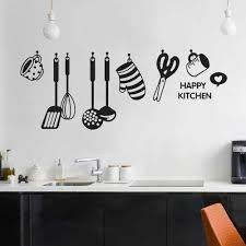 Kitchen Wall Stickers Fun Design Cook Utensils Home Decoration Restaurant Refrigerator Self Adhesive Vinyl Wall Decals Y679 Wall Stickers Aliexpress