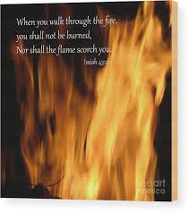 Isaiah 43 2 Fire Wood Print By Beverly Guilliams