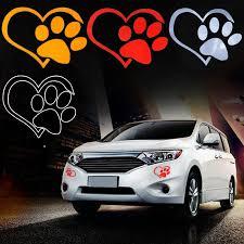Funny Car Sticker Dog Cat Paw Print Heart Window Bumper Vinyl Decal Waterproof