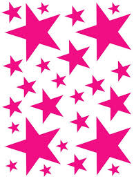 52 Hot Pink Vinyl Star Shaped Bedroom Wall Decals Stickers Etsy