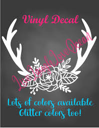 Antler Decal Floral Antler Decal Antler Car Decal Antler Sticker Southern Girl County Girl Decal Boho Girl Decals Car Decals Classic Cars Birthday Party