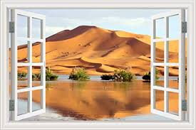 Amazon Com Greathomeart Removable Wall Decal Murals The Oasis In The Desert 3d Window Scenes Vinyl Sticker Nature Scenery Wall Art Poster For Bedroom 32x48 Inches Home Kitchen