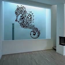 Zhehao Vinyl Sea Horse Wall Decal Marine Fish Wall Sticker Sea Animal Wall Decal Ocean Fish Mural Home Art Decor Wish