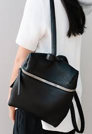 minimal backpack black leather bag