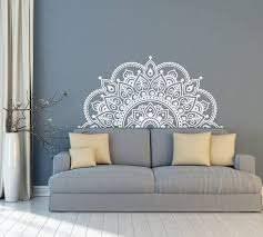 Half Mandala Vinyl Wall Decal Indian Mandala Decor Mandala Etsy