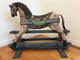Wood Plaster Rocking Horse Vintage Decor For Kids Room Or Hallway Accent Ebay