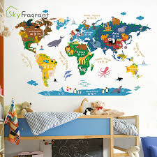 Cartoon Animal World Map Wall Sticker Creative Kids Room Stickers Bedroom Study Wall Decor Self Adhesive Painting Home Decor Wall Stickers Aliexpress