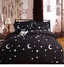 100 Cotton Black And White Stars Moon Bedding Set For Kids King Queen Size In A Bag Oil Print Bed Linen Duvet Cover Sets Black Bed Set Bed Design Bedding Sets