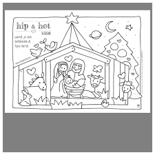 Kleurplaat Kerststal Om Te Kleuren Tijdens Of Voor Kerst
