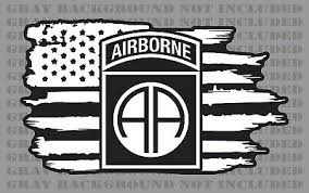 101st Airborne Division Army American Flag Veteran Weathered Vinyl Sticker Decal Ushirika Coop