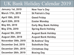 UK Federal Holidays
