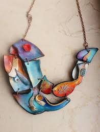 necklace abstract polymer clay