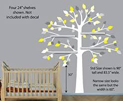 Amazon Com Vinyl Yellow Gray Wall Decals White Tree Wall Decal Perfect For Shelf Or Shelving Nursery Wall Decor Baby