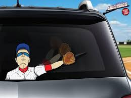 Baseball Player Centerfield Wipertag With Glove Attach To Rear Vehicle Wiper Wipertags